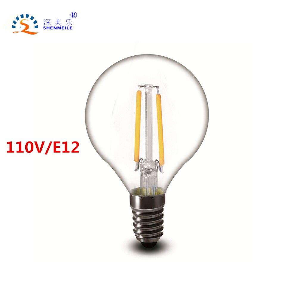 rxr g14 led bulb 110v e12 2w 4w 6w g45 led clear edison vintage led filament