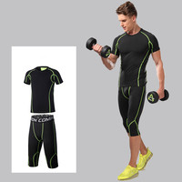 New Men Running Set Sports Suit Quick Dry Basketball Soccer Fitness Training Compression Underwear Shirts Pants