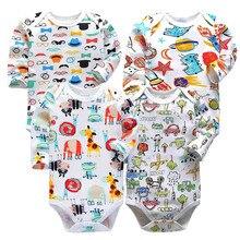 4 PCS/LOT Cotton Baby Bodysuits Unisex Infant Jumpsuit Fashion Boys Girls Clothes Long Sleeve Newborn Clothing Set