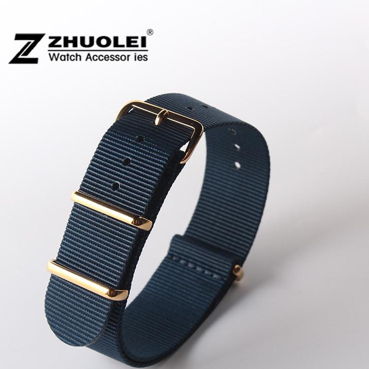 Dark blue Gold watch buckle Watch Strap Band Nylon Divers Mens Size18mm 20mm 22mm 24mm Free Shipping napapijri guji check dark blue