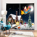 Настраиваемые рождественские шторы для детской комнаты  милые шторы Санта Клауса с 3D принтом  плотные Полиэстеровые кухонные шторы для гос...