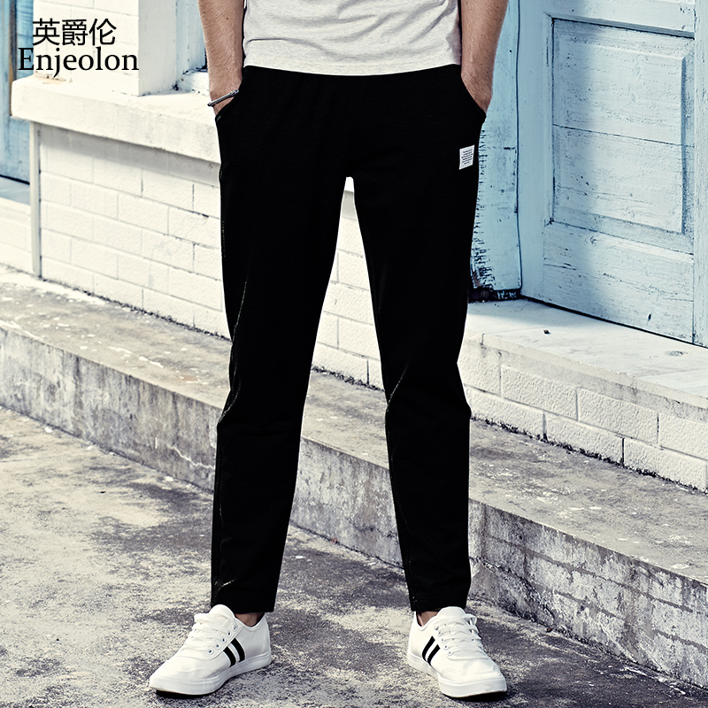 Enjeolon long trousers Black sweatpants men,top quality clothing Straight male fashion C ...