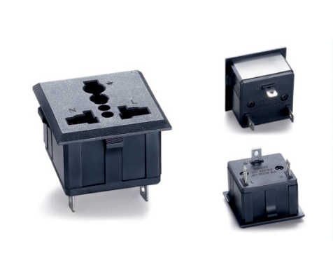 1 stks SS-801 Zwart industrie multi-functionele outlet 3 pins Elcectrical 250 v 13A US EU UK universele AC stopcontact