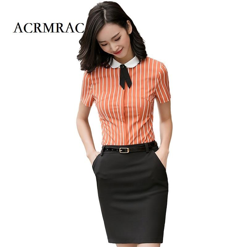 ACRMRAC 2018 New Women Short sleeve stripe Patchwork collar Slim OL Business Formal Blouses Shirts