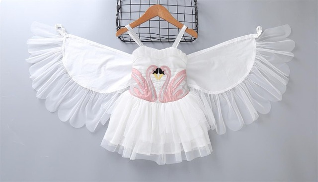 1 to 8 baby Girls summer suspender dresses, Wing perform festival wear, flying child Swan clothes, kids boutique, R1AA802DS-67