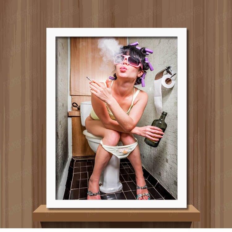 Modern Sıcak Seksi bayan Serin adam Tuvalet tuval sanat duvar boyama - Ev Dekoru - Fotoğraf 3