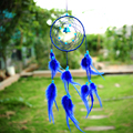 2016*India Style Blue Dream Catcher Circular With feathers Wall Hanging Decoration Decor Ornament Catcher