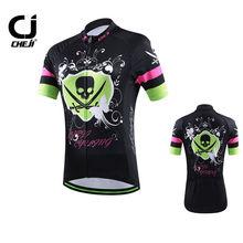 CHEJI Women's Cycling Clothing Bike Cycling Jersey MTB Bicycle Shirts Black Skull