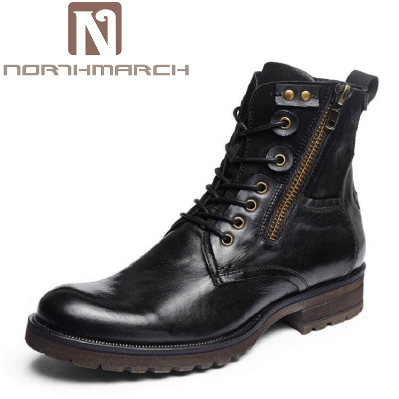 NORTHMARCH Fashion Genuine Leather Ankle Boots Autumn Winter Men Outdoor Motorcycle Boots High Quality Black Zipper Martin Shoes autumn warm plush winter shoes men zipper 100% genuine leather boots men thick bottom waterproof black high top ankle men boots