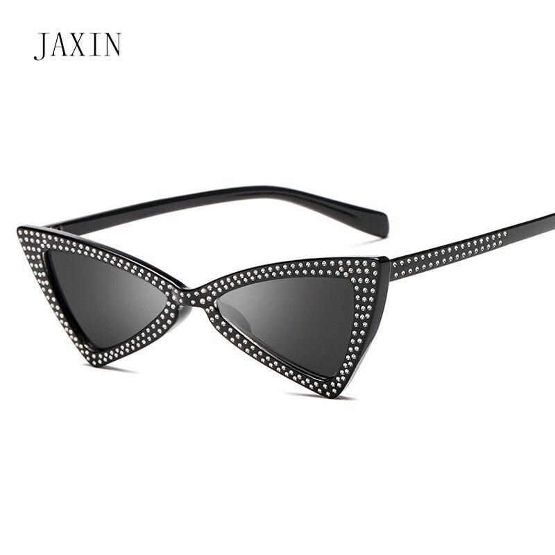 JAXIN Fashion cat eyes sunglasses Women personality triangle rhinestone lady brand design trend glassesUV