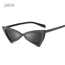 JAXIN Fashion cat eyes sunglasses Women personality triangle rhinestone lady brand design trend glassesUV