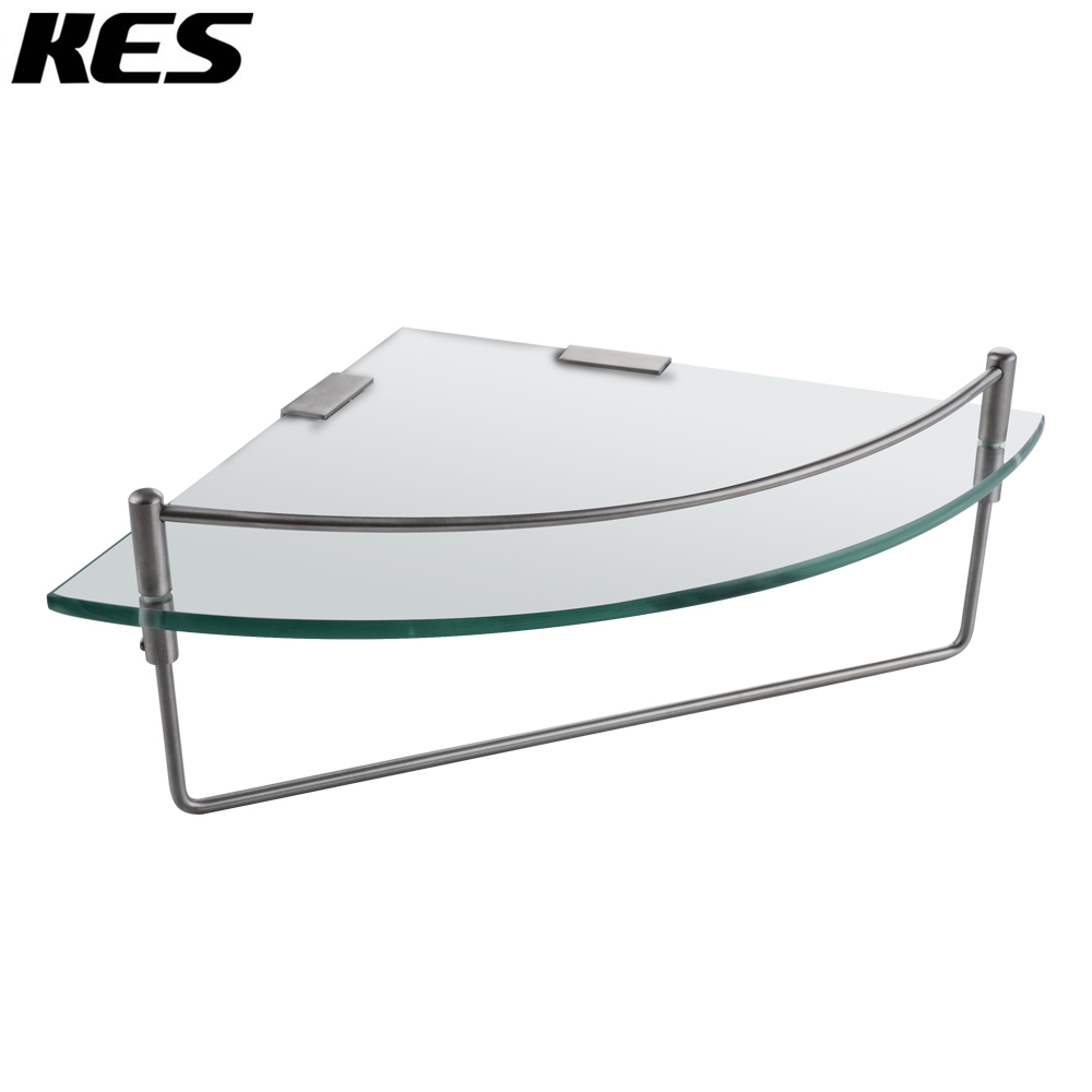 KES BGS2100A-2 Bathroom Corner 7MM-Thick Tempered Glass Shelf Wall Mount with Towel Bar SUS304 Stainless Steel, Brushed Finish