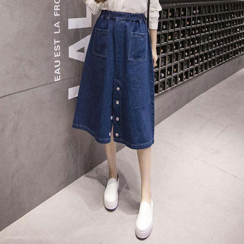 New fashion autumn quality elastic waist A line cotton denim women skirts slim all match beauty solid women skirts