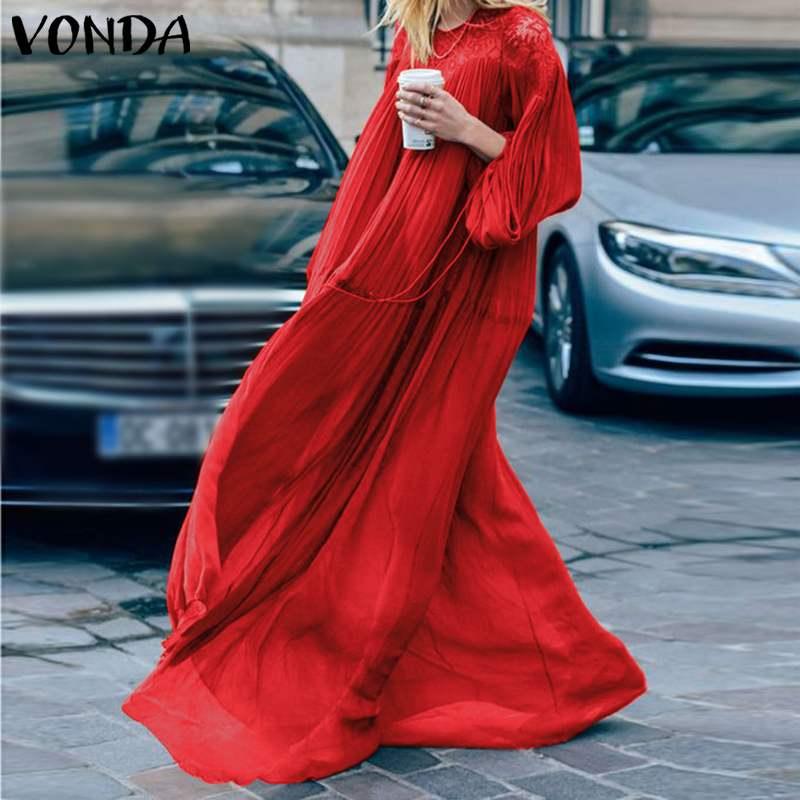 VONDA Bohemian Dress 2020 Women Sexy Lantern Sleeve Hollow Lace Party Maxi Dress Casual Loose Vestido Holiday Sundress Plus Size
