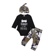 SAGACE Fashion baby clothes set 3PCs Baby Boy Clothes Letter Cartoon Romper Tops+Camo Pants newborn clothes baby set Jly12(China)