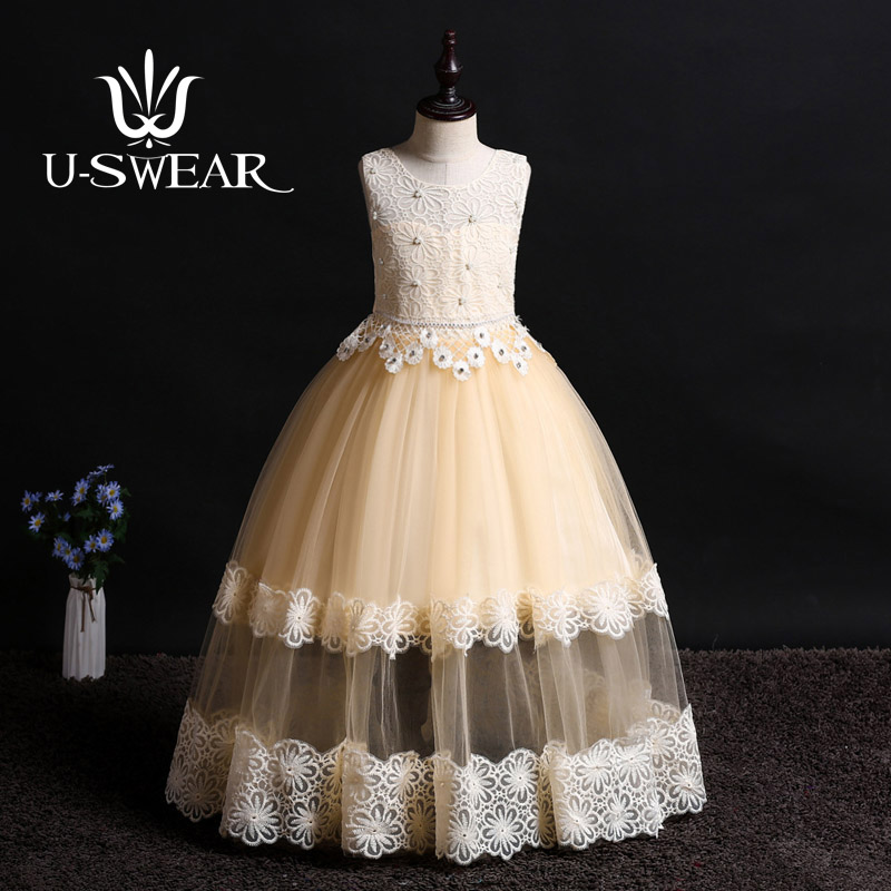 U-SWEAR 2019 New Arrival Kid   Flower     Girl     Dresses   Sleeveless O-neck Flora Lace Pearls Beaded Chiffon Ball Gown   Girls   Vestidos