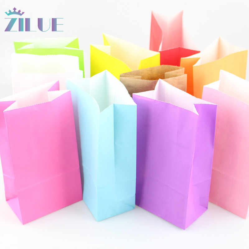Zilue Kraft Paper Bags 10pcs/lot Stand Up Dot bags Child Party Birthday Food Paper Kraft Seal Gift Packing Treat Bag Supplies