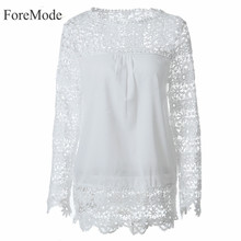 ForeMode 7XL Large Size Fashion Women Lace Long Sleeve Chiffon Blouses Shirt Crochet Blusa Tops Femininas