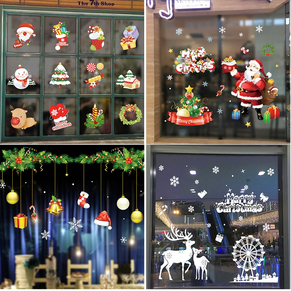 Us 3 14 35 Off Awoo Christmas Wall Stickers Adornment Wallsticker Mirror Wall Stickers Glass Window Wall Decor L103 In Wall Stickers From Home
