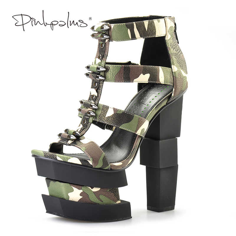 203ec2a270c382 Pink Palms summer women shoes high heels wedge sandals blue camouflage  bullet decoration sexy punk party