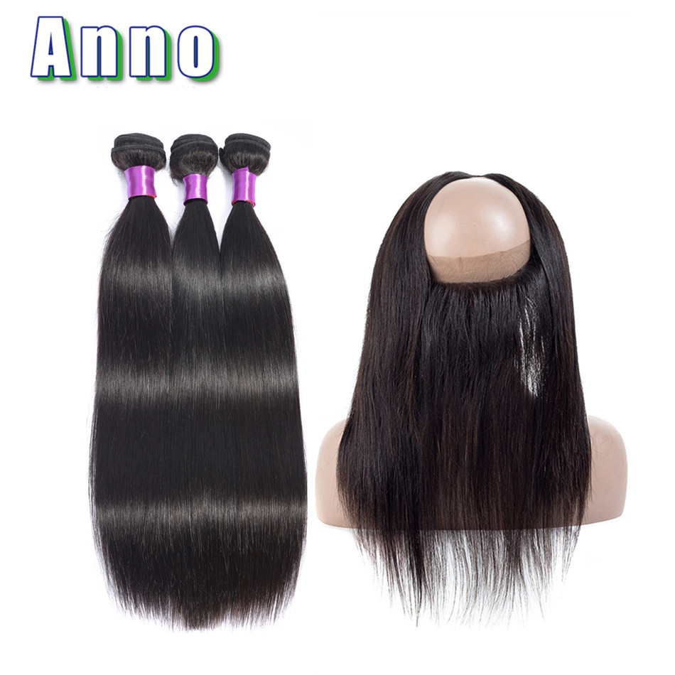 Annowig Straight Hair Bundles With 360 Frontal Non Remy Brazilian Human Hair 2 3 Bundles With