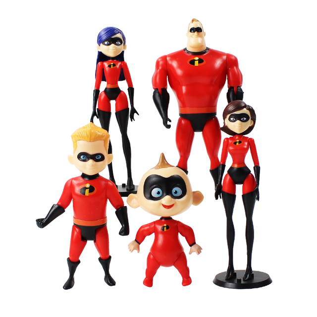 11-18cm 5pcs/lot The Incredibles 2 Super Man Family Dash Parr Jack Parr Elastigirl Figure Toy PVC Model Collection Doll Gift