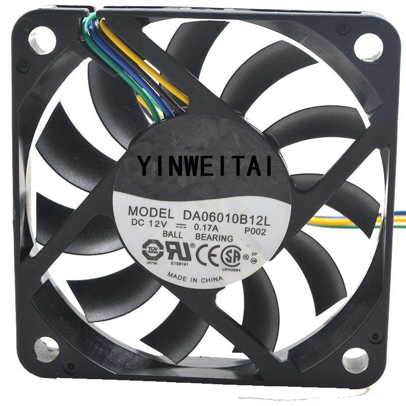 2pcs Original <font><b>6010</b></font> 6cm <font><b>fan</b></font> for PSAD16010SM DA06010B12L 12v 0.17a 60 * 60 * 10MM 4-wire PWM speed ultra-thin <font><b>fan</b></font> image