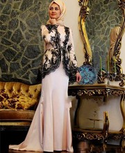 2017 Black Lace Applique Muslim Evening Dress Long Sleeve Prom Dress With Hijab Floor Length Formal Party Gown vestido de festa