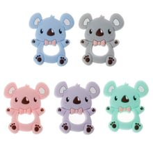 Safe Cartoon Baby Teethers BPA Free Cute Animal Koala Infant DIY Ring Teether Toddler Silicone Chew Charms Kids Teething Toys