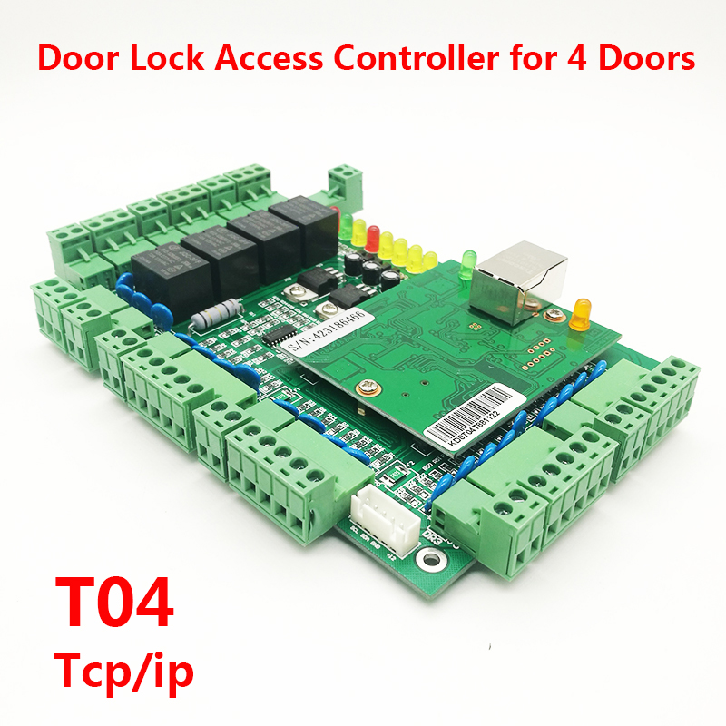 Wiegand Four door Lock Access Controller RFID Card access control board TCP/IP Multi Door Security Access Control System T04Wiegand Four door Lock Access Controller RFID Card access control board TCP/IP Multi Door Security Access Control System T04