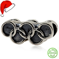 Genuine 925 Sterling Silver Sports Olympic Rings Charm Bead for Pandora Charm Bracelet Chain