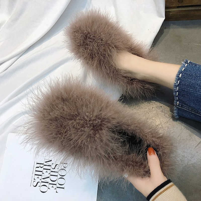 3058da19edc Real Ostrich feather fur moccasins ladies flat heel platform fluffy ...