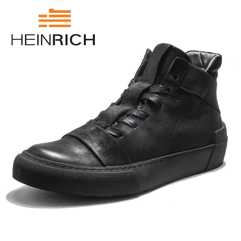 HEINRICH Hot Sale Men Casual Shoes Spring/Autumn High Top Flats Shoes Ultralight Top Quality Brand Sneakers Chaussures Hommes hot sale 2016 top quality brand shoes for men fashion casual shoes teenagers flat walking shoes high top canvas shoes zatapos