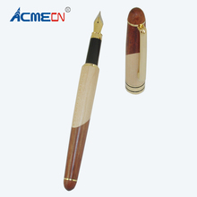 ACMECN Unisex Wooden Pen with Maple & Rosewood Splicing Patern High Quality Calligraphy Art Fountain Pens for School Students
