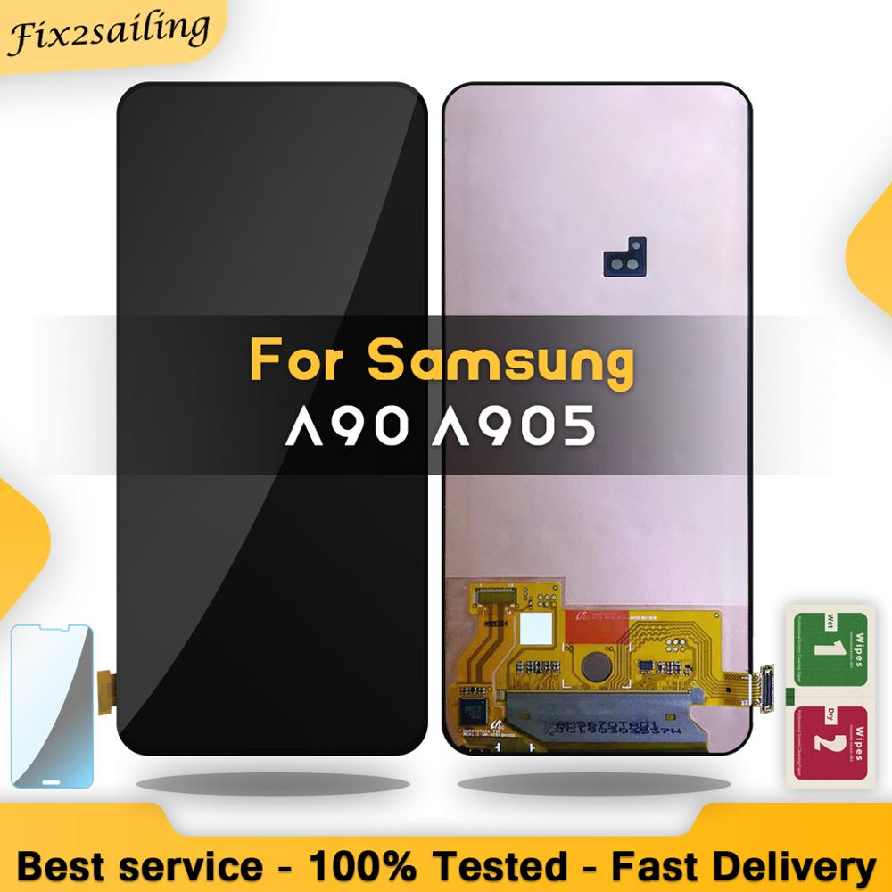 SUPER AMOLED For Samsung Galaxy A90 A905 A905F SM A905 Display Touch Screen Digitizer Assembly For Samsung Galaxy A90 LCD