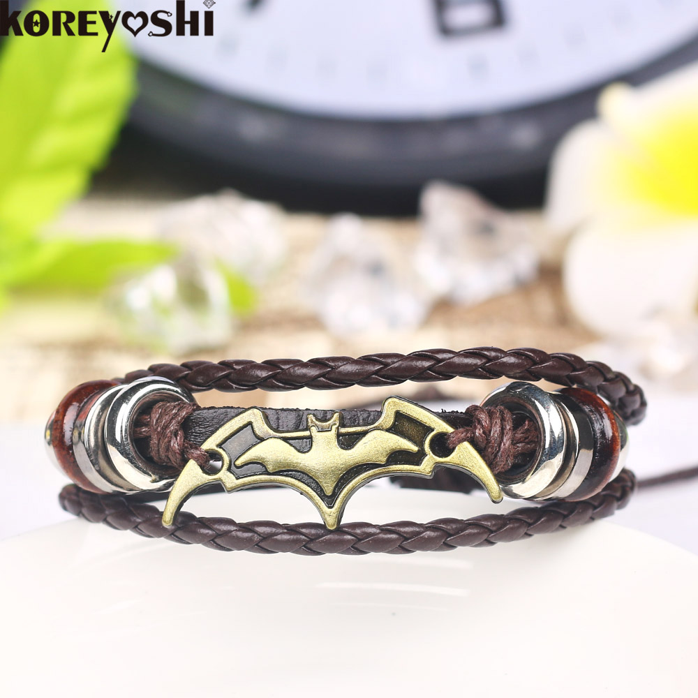 Bat Signs Strand Bracelets For Women Fashion Jewelry Multilayer Leather Bracelet  Men Casual Personality Vintage Punk Wristband