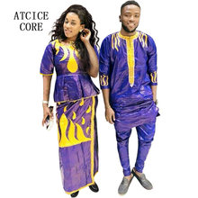 african dress for woman bazin riche embroidery design dress couple fashion(China)