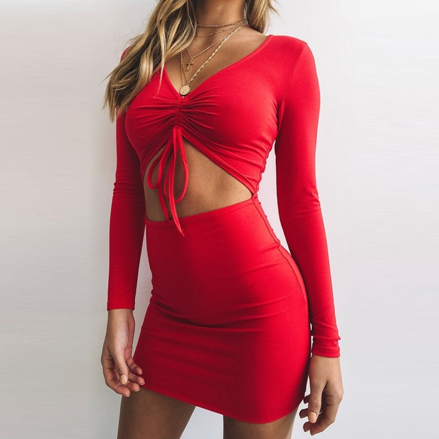 653d5380cb09 Sexy Deep V Neck Long Sleeve Ruched Women Bodycon Dress Fashion Lace Up  Slim Elegant Mini Dresses