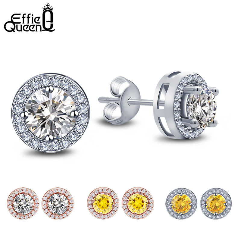 Effie Queen Women Stud Earrings AAA CZ Zircon Crystal Stud With Round Yellow Clear Color Stone Small Earring Girl Jewelry DE104