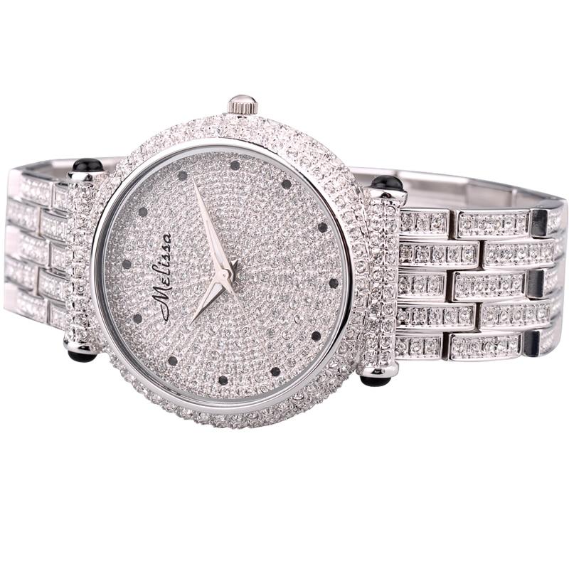 Melissa Dame vrouwen Horloge Japan Quartz Uur Fijne Fashion Party Armband  Staal Luxe Steentjes Kristal Verjaardagscadeau in Melissa Dame vrouwen  Horloge ... bafe4fc3575a