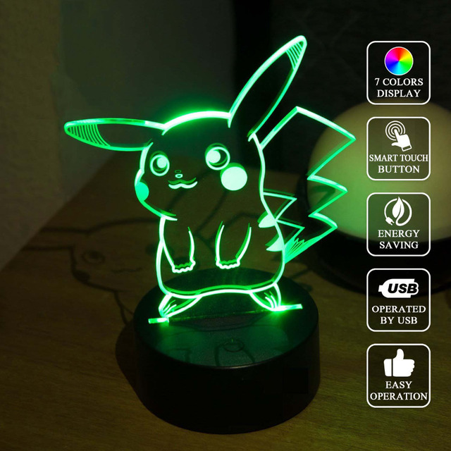 Pokemon Pikachu 3D LED Night Light, 3D Optical Illusion Visual Lamp 7 Color Changing LED Table Lamp for Gifts or Home Decoration