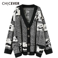 CHICEVER Autumn Letter Sweater For Women Cardigan V Neck Batwing Long Sleeve Single Breasted Loose Oversize Lady's Sweaters 2018