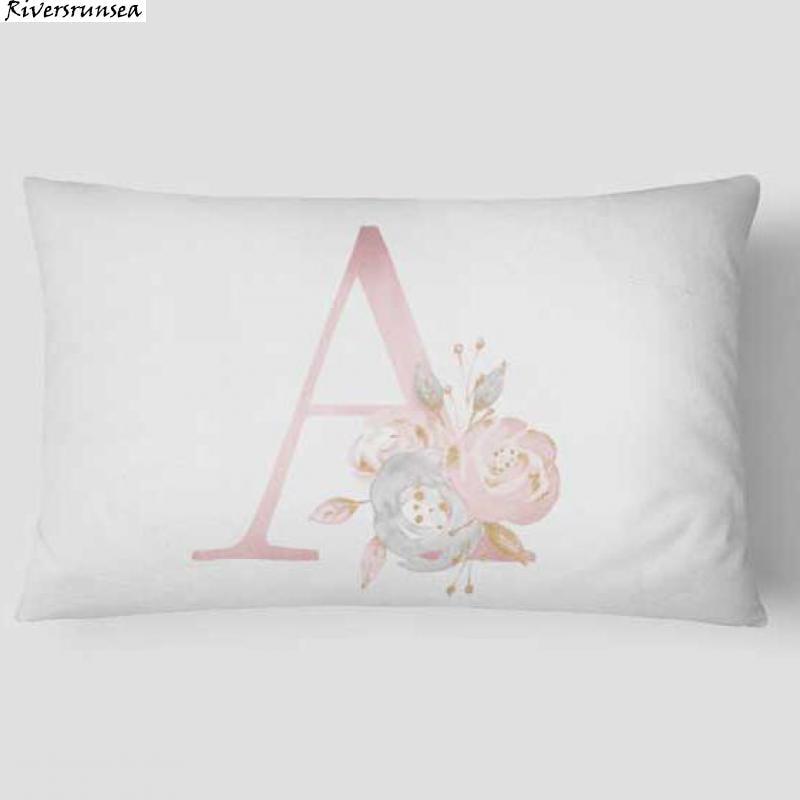 Cute Design Alphabet Cushion The 26 English Letters Flower Combination Child Abbreviated Name Plush Pillow 30x50cm Diy Custom