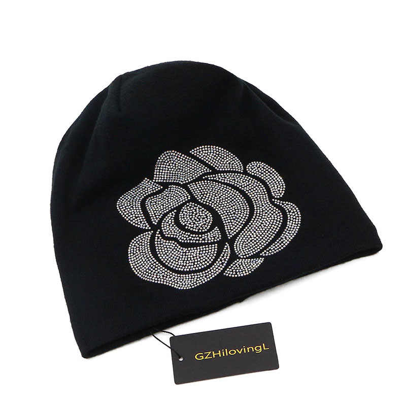 c3f796140 GZHilovingL New Soft Autumn Winter Women Hats Ladies Diamond Cotton Slouchy  Cap Beanie Hats For Women Floral Rose Long Beanies