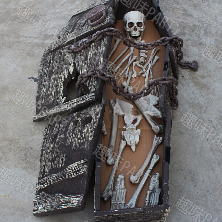 halloween coffin skeleton skull haunted house party room packaging is difficult to universal reality skull skull