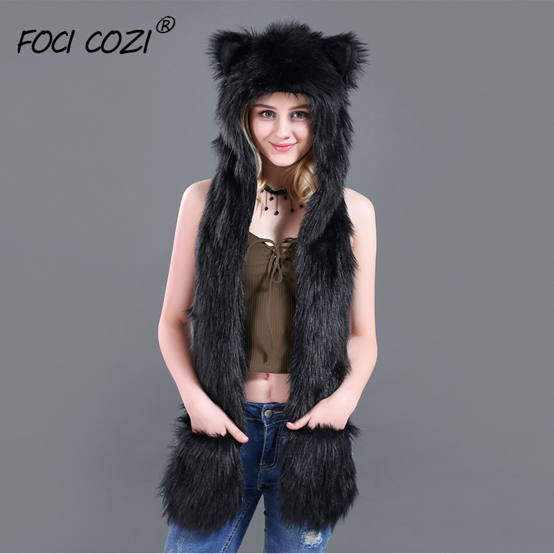 2019 Fashion Black Hoods Animal Faux Fur Hat Cap Women Lady Winter Stuffed Animal Hat Faux Fur Cute Cartoon Caps with Mittens