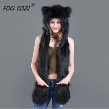2019 Fashion Black Hoods Animal Faux Fur Hat Cap Women Lady Winter Stuffed Cute Cartoon Caps with Mittens