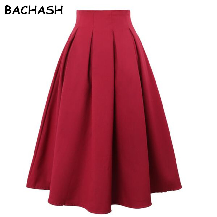 BACHASH Women Pleated Skirts 2018 Spring Summer Vintage High Waist Knee Length Office Workwear Plus Size Solid Ball Gown Skirt