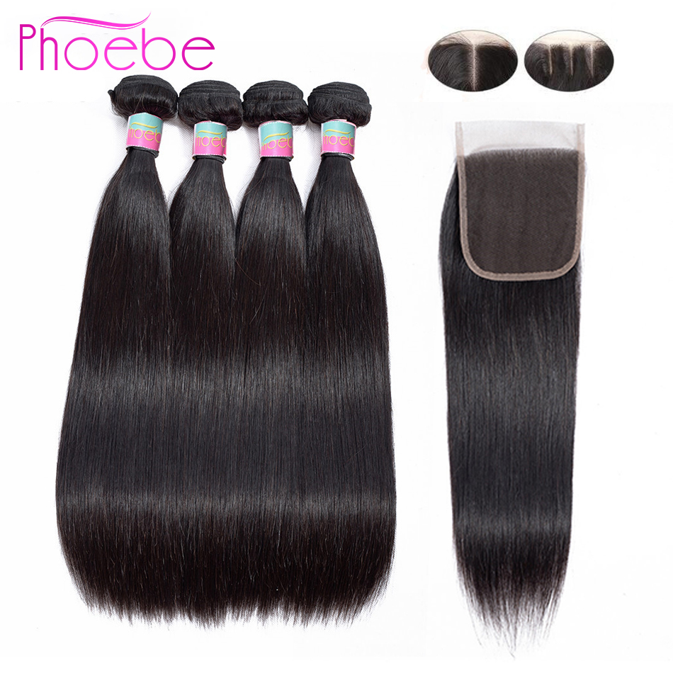 Phoebe Peruvian Hair 100 Human Hair Straight 4 Bundles With Closure Non Remy Hair Extension For