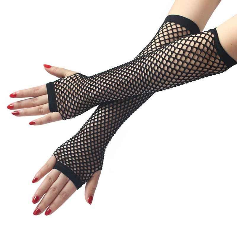 Wanita Punk Gothic Solid Stoking Jala Setengah Tangan Panjang Tanpa Jari Golves dengan Lubang Jempol Panjang Hollow Keluar Sarung Tangan Pesta Disko